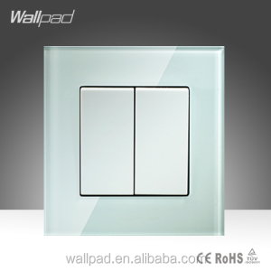 Hot Selling Wallpad High Quality White Crystal Glass16A 110-250V 2 Gang Reset Switch Square Push Button Swtich Light Wall Switch