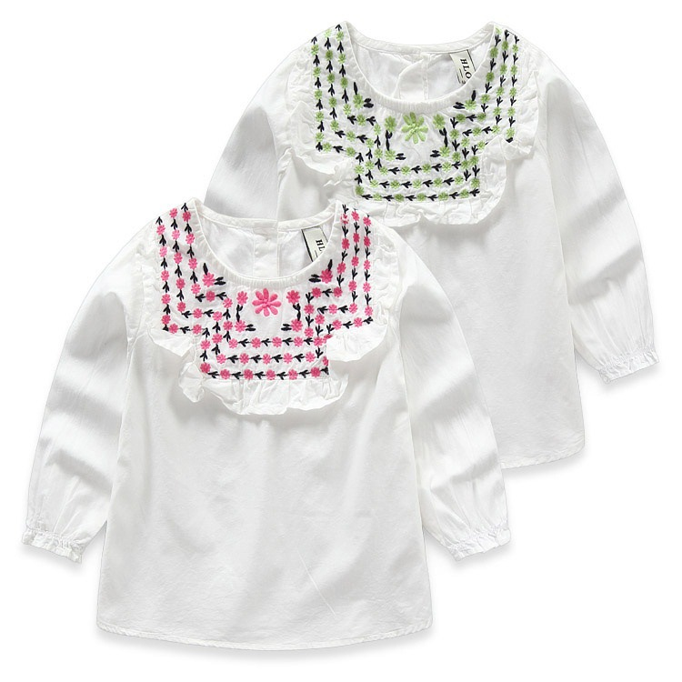 YD3148spring 2016 children's clothes flower embroidery round collar long sleeve Girls shirt