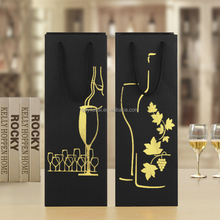 Yilucai Custom luxury black paper wine gift bags