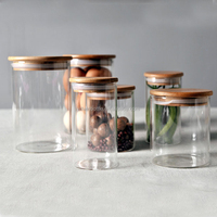 300ml Tea coffee biscuit storage glass jar with wooden lid silicon seal,glass jar with cork top