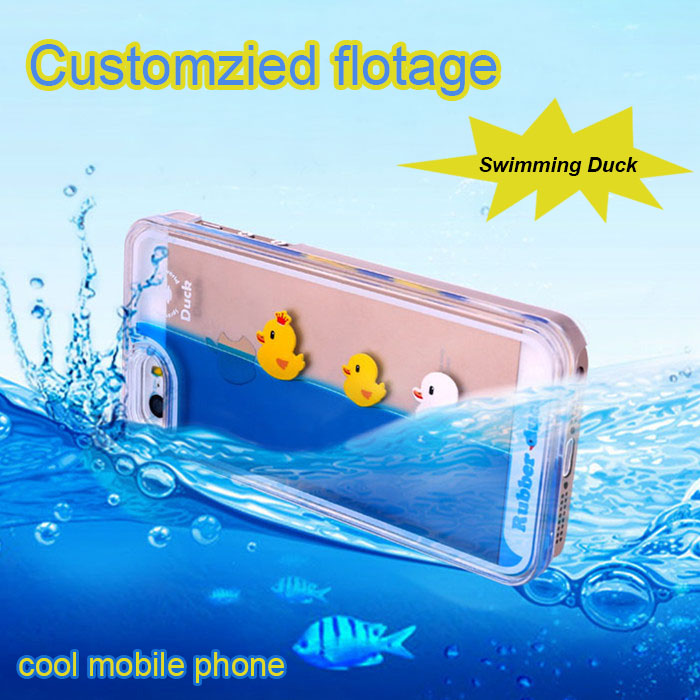 3D Design Yellow Duck Flowing Liquid Water Transparent Hard Back Cover Case For iPhone 6s mobile phone covers