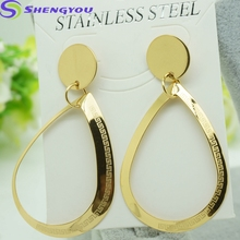 Women's Jewelry Fashion Big Gold Rain Drop Shape Pendant 316L Stainless Steel Earring Big Drop Earrings