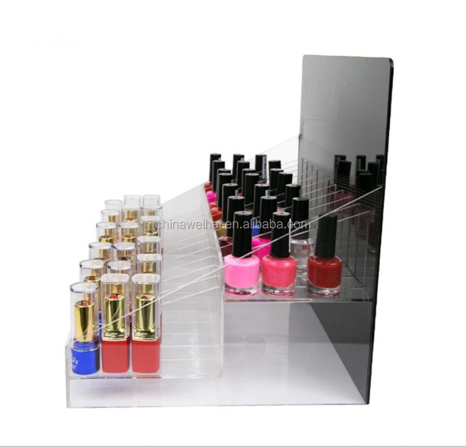 Two Layers Acrylic Lipstick Nail Polish Display Stand
