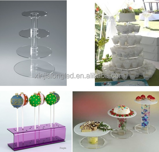 Hot Sale 2 Tier Round Acrylic Simplicity Cake Stand Clear Perspex Cupcake Display Stand Acrylic Cupcake Dessert Stand