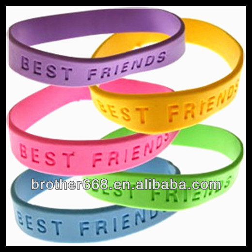 custom rubber ink filled/debossed high quality silicone bracelets/wristbands