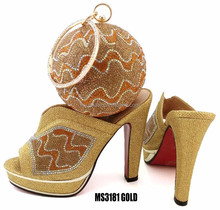 italian ladies wedding shoes and bag set to match gold 2016 for party