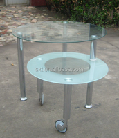Home furniture general use glass coffee table with wheels
