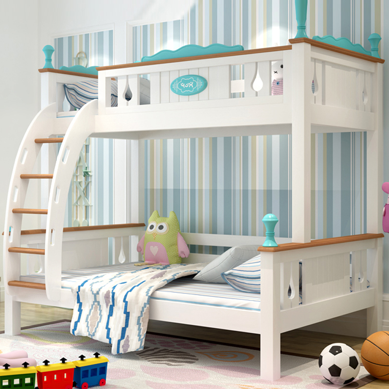 Kids room furniture twin over queen bunk bed with staircase,Bunk beds for children bedroom