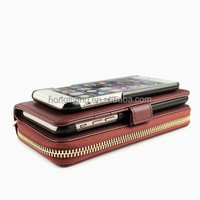 wallet style business double leather case for Samsung S6/S6 edge detachable phone case