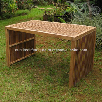 Teak Outdoor Dining Table With Small Slats VDT 031
