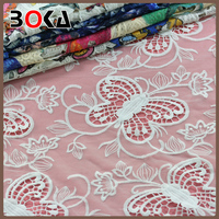 Gorgeous butterfly embroidery Mesh italian lace fabric for wedding party blouse BK-FB010