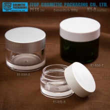 KJ-A eco friendly clear PETG plastic 5ml-100ml round cosmetic packaging container mini body scrub make up jars