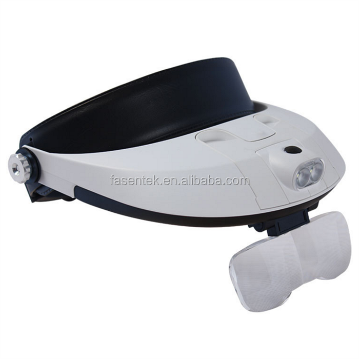 Adjustable Headband 5Lens Binoculars Magnifier LED Magnifying Glass 2Lamps Jewelry Repair Watch Reading Glasses Third Hand Loupe