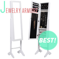 Floor standing wood cheap multifunctional jewelry cabinet with cosmetic mirror