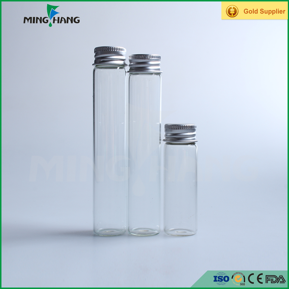Clear tube glass bottle with aluminum cap