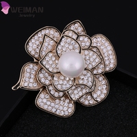 Wholesale Fashion Flower Freshwater Pearl Camellia Brooches for Lady