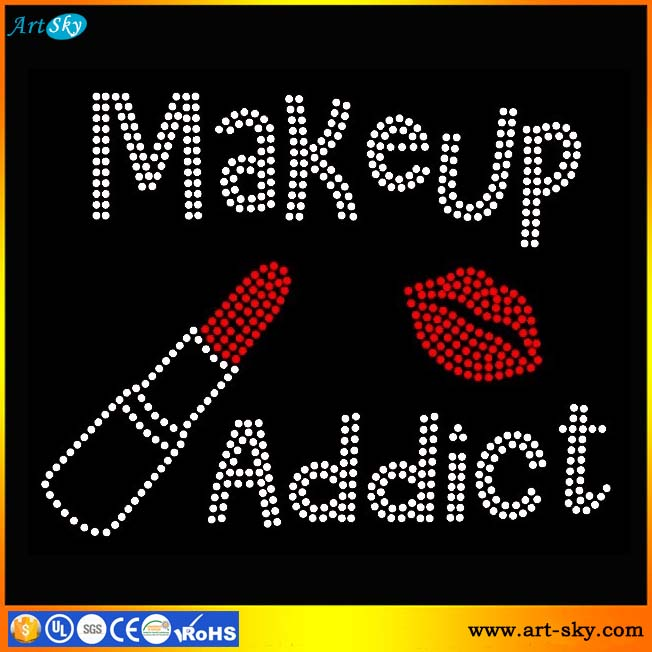 Artsky supplier accessories clear red Makeup Addict Lipstick mouth wholesale rhinestone appliques