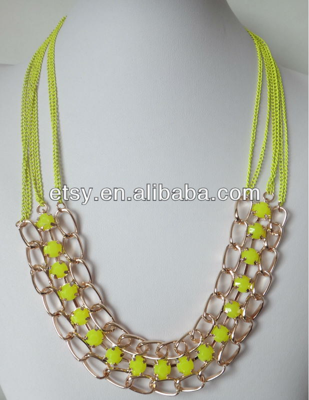 Marquee neon yellow short chain necklace