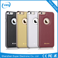 New Luxury Genuine Leather Slim Electroplating PC Back Shell Cover Case For iPhone 6 6S Plus
