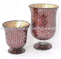 red stemmed mosaic mirror vase