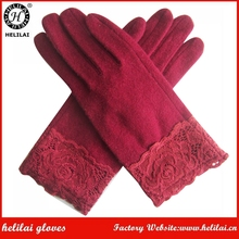 Factory Wholesale Price Ladies Red Lace Cuff Wool Gloves