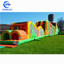 Extreme rush obstacle course with zipline, adult inflatable obstacle course for sale
