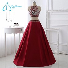 A-Line Floor Length Sleeveless Crystal Sexy Red Sequins Evening Dress