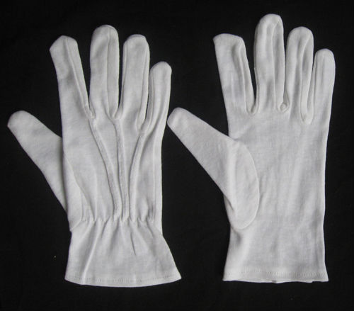 marching band uniform white cotton glove,traffic parade military glove