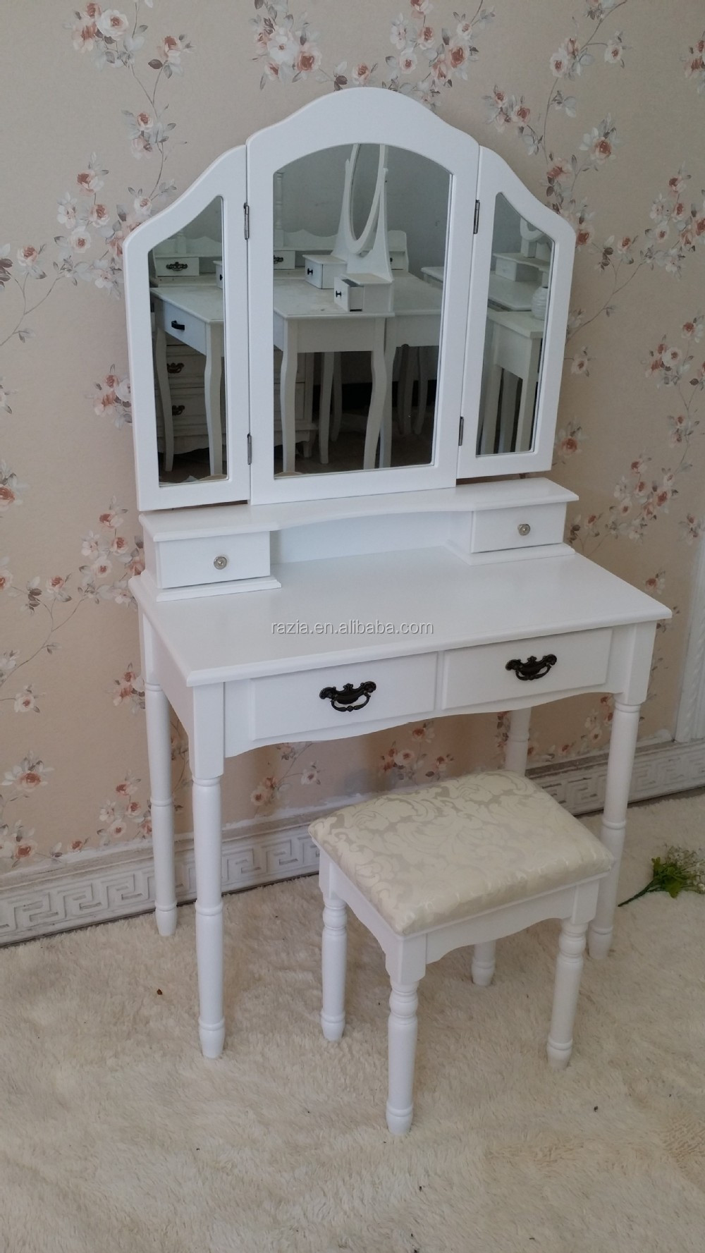 elegant wooden dressing table with stool - A002