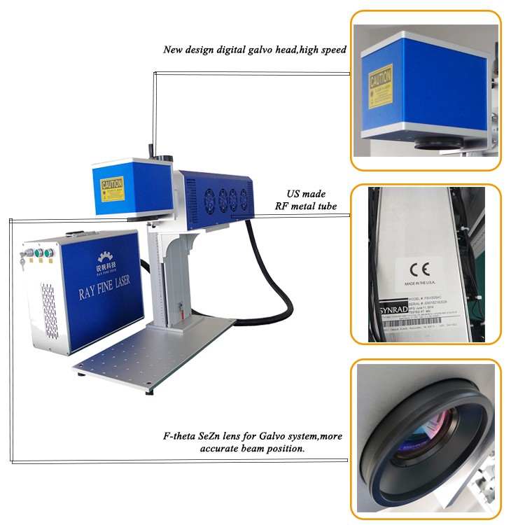 RF tube Co2 laser marking machine for wood and paper etc.
