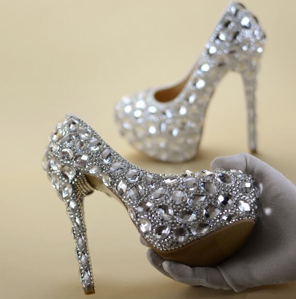Plus Size 13 Silver Crystal High Heel Pumps 16CM Platform Bride ...