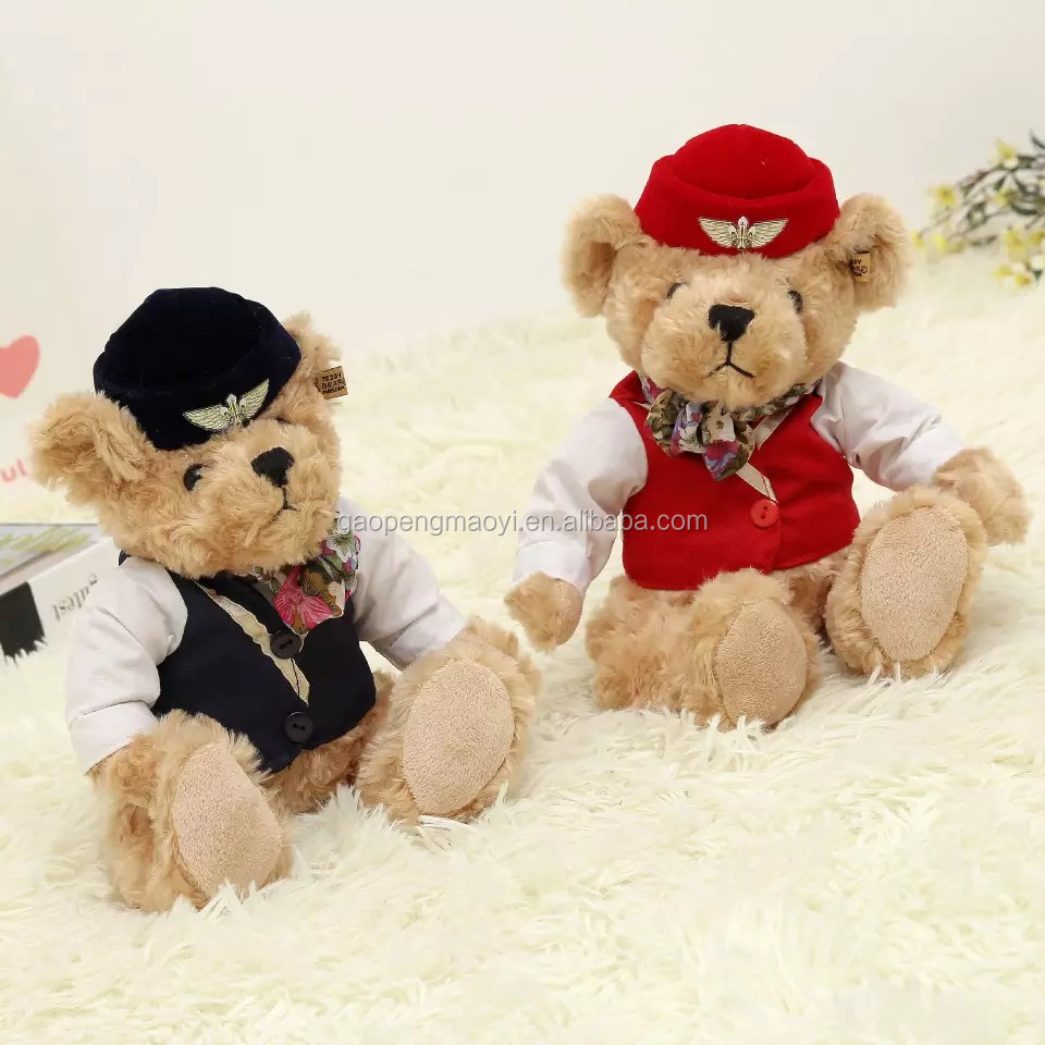 Factory Price Fashion Custom Teddy Bears Stuffed Toys and Plush Toys with airline stewardess uniform