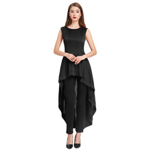 Grace Karin 2018 New Women's Black and Wine Color Sleeveless Crew Neck Irregular High-Low Hem Prom Dress CLAF0458