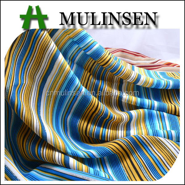 Mulinsen Textile Woven Printed Wool Peach Striped Shiny Polyester Fabric
