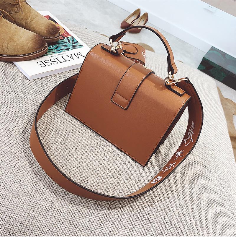 Toposhine Fashion Women Bag Panelled Vintage Flower Girls Bags for Girls Black PU Leather Women Messenger Bags Drop Shipping 13