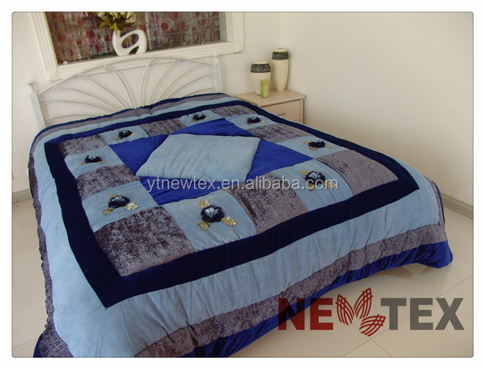 velvet patchwork home decorative comforter set quilted applique embroidered bedspreads