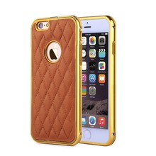 For Apple iphone 6 Case Luxury Genuine Leather Back Cover Metal Bumper Frame Cover Case for iphone 6