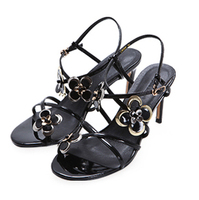 shining pu cross straps fancy ladies high heel sandals for party