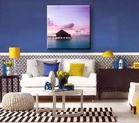 House and sunset glow natural scenery canvas art painting for living room