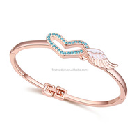Fashion Austrian Crystal Rose Gold Bangle of Love Heart Angel