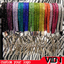 Mix Color Rhinestone Bling Crystal Lanyard with Vertical ID Badge Holder