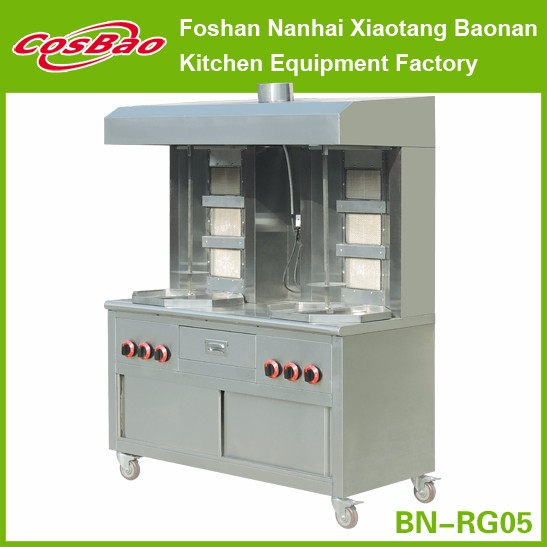 Meat Shawarma Grill Equipment With Hood and Cabinet and Wheels, 6 Burners Double Gas Shawarma Machine