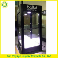 high-end wood lock LED lighting sunglass store display showcase design