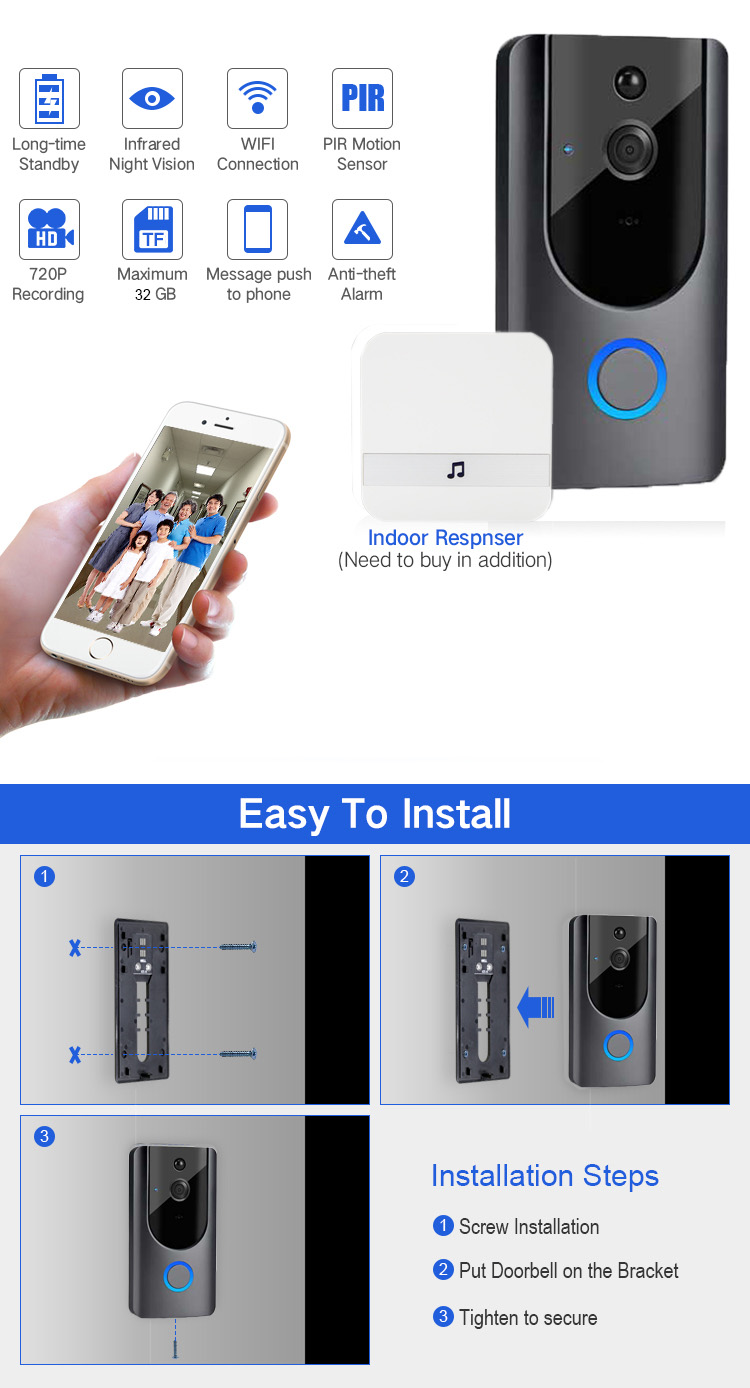 Home Security System Smart Video Door Phone Waterproof Wireless Ring Wifi Video Camera Doorbell