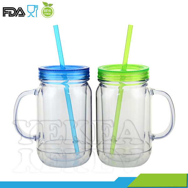 16 oz Double Wall Plastic Mason Jar With Handle and Straw