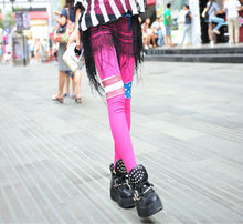 C81717A Candy-colored stripes flag asymmetrical stitching pantyhose legging