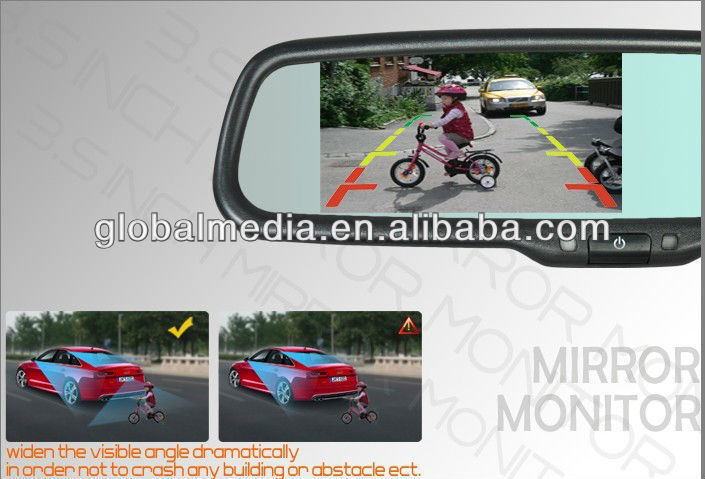3.5 or 4.3 Inch new glasses Rear view Mirror Monitor , HD rear camera display , Bluetooth handsfree car kit