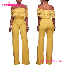 New Style Fashion Off Shoulder Bandage One Piece Chiffon Jumpsuit