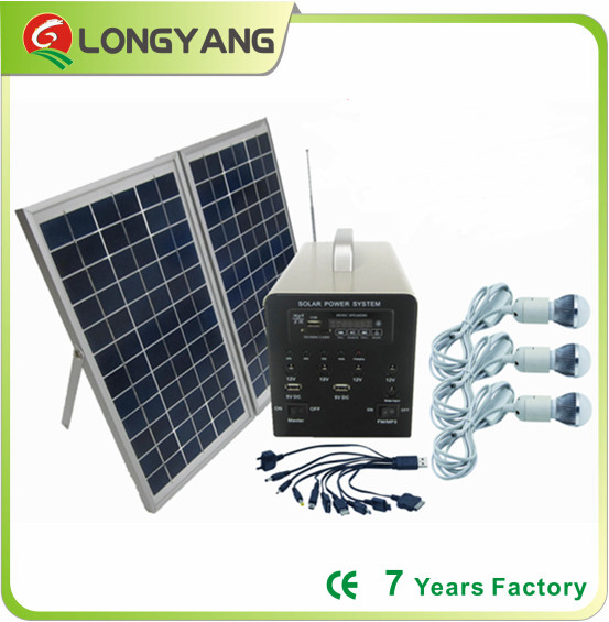 10W portable solar lighting kit with FM Radio and MP3 player
