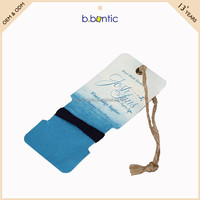blue printing card clothing hang tag with natural jute rope